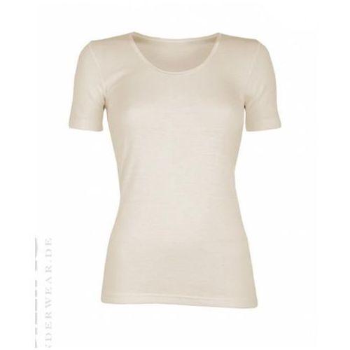 Koszulka damska z krótkim rękawem z wełny merynosów 100% - : rozmiar - m, kolor - ecru, Dilling