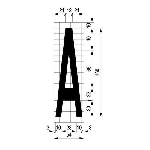 """Szabloneria Szablon do malowania na drodze, wysokość 160cm, litera """"a"""", tworzywo gr 1mm"""