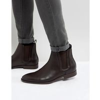 ASOS Chelsea Boots In Brown Faux Leather With Panel Detail - Brown