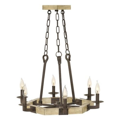 Hinkley Żyrandol lampa wisząca hk/wyatt6 elstead świecznikowa oprawa rustykalny zwis na łańcuchu geometryczny rdza brązowy (5024005336419)