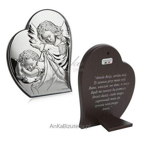 Obrazek srebrny Aniołek w sercu 9 cm*10,7cm Modlitwa