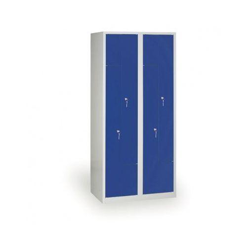 Spawana Szafka ubraniowa Z, korpus szary, drzwi niebieske zamek obrotowy