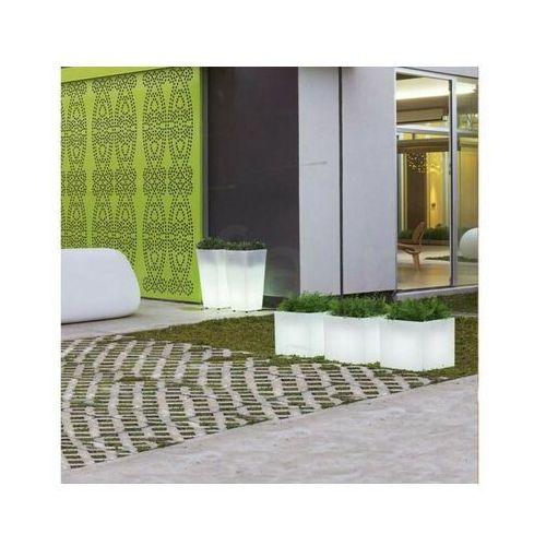 New garden donica narciso 40 solar biała - led, sterowana pilotem marki Sofa.pl