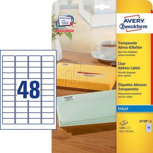 Etykiety adresowe Avery Zweckform przezroczyste 45,7 x 21,2mm 25 ark./op. J4720-, 87731