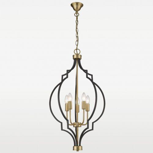 Evo Lampa wisząca p05186bk au geometryczna oprawa metalowy zwis świecznikowy na łańcuchu czarny złoty (5902115963186)