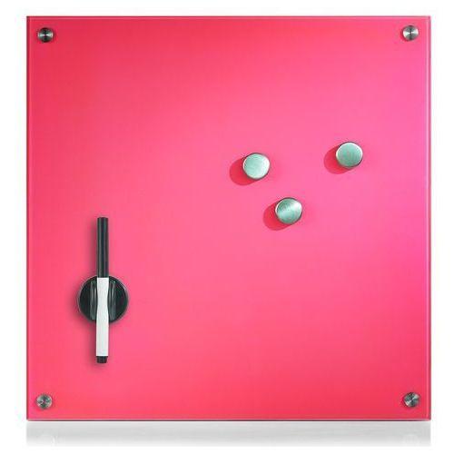 Zeller Szklana tablica magnetyczna memo, różowa + 3 magnesy, 40x40 cm,