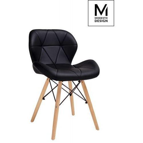 MODESTO krzesło KLIPP czarne - ekoskóra, podstawa bukowa, kolor czarny