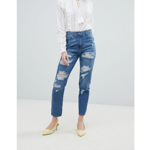 Parisian Ripped Boyfriend Jeans - Blue, kolor niebieski