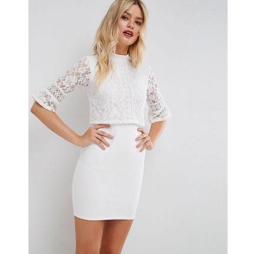 ASOS Lace Crop Top Mini Dress With Trim - White