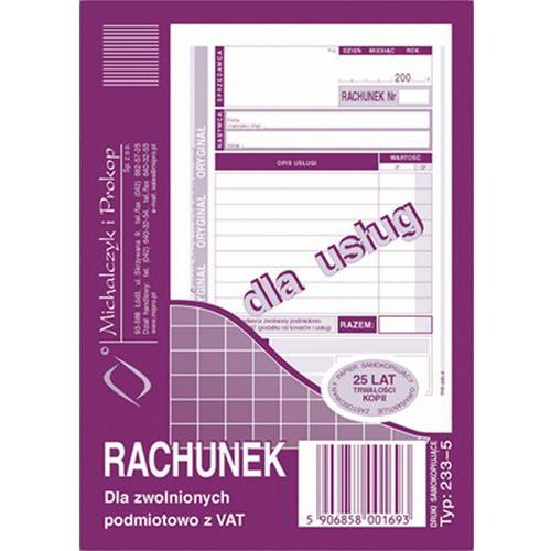 Michalczyk i prokop Rachunek dla zwol. podmiot. z vat michalczyk&prokop 233-5 - a6 (oryginał+kopia)