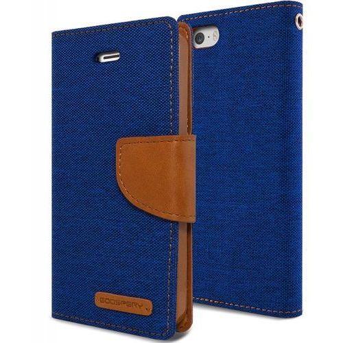 Mercury  canvas diary - etui iphone se / iphone 5s / iphone 5 z kieszeniami na karty + stand up (granatowy/camel) - szybka wysyłka - 100% zadowolenia. sprawdź już dziś! (8806164311073)