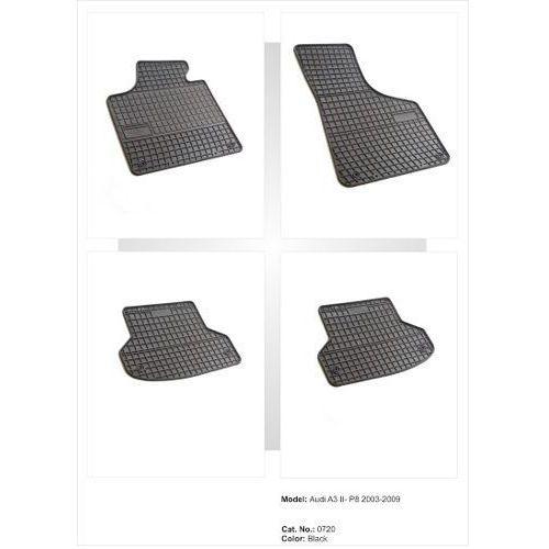 Dywaniki gumowe czarne z kompletem stoperów - Audi A3 (8P) 2003-2012