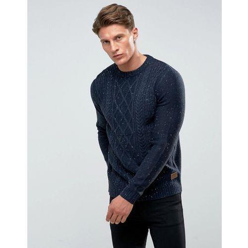 chunky nep cable knit jumper - navy marki Threadbare