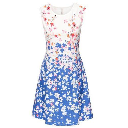 Sukienka neoprenowa bonprix niebiesko-kremowy wzorzysty, w 2 rozmiarach
