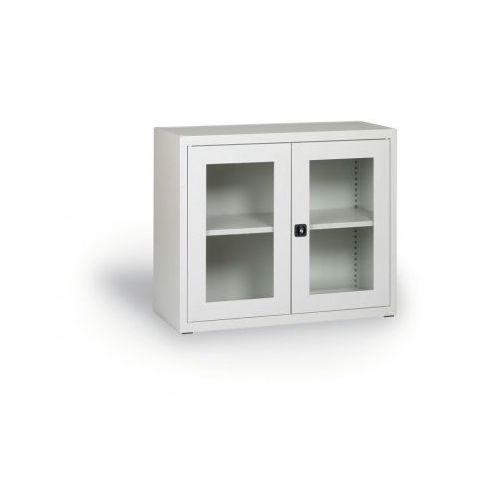 Szafa ze szklanymi drzwiami, 800 x 920 x 400 mm, szara marki Alfa 3