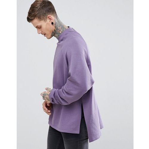 super longline oversized sweatshirt with side splits & dropped hem - purple, Asos, XS-XL