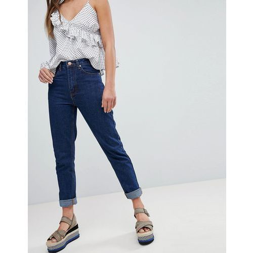 Boohoo Turn Up Hem Mom Jeans - Navy, kolor szary