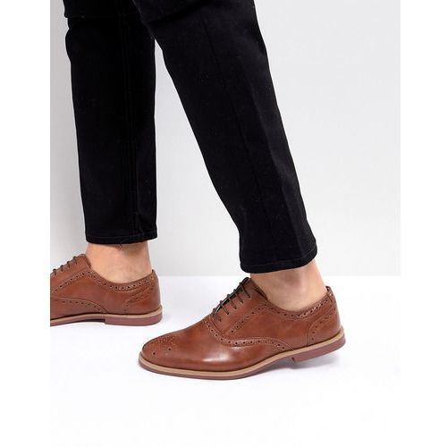 Asos brogue shoes in tan faux leather with contrast sole - tan