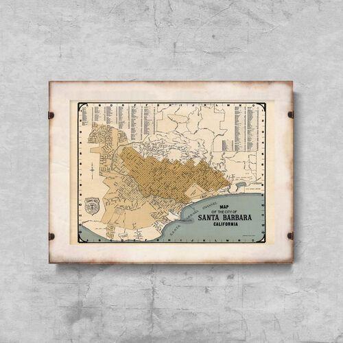 Plakat retro do salonu Plakat retro do salonu Stara mapa Santa Barbara w Kalifornii