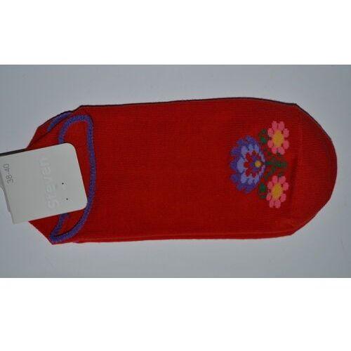 Steven Stopki damskie ze wzorem ludowym, z łowickimi kwiatami, czerwony, rozm. 38-40
