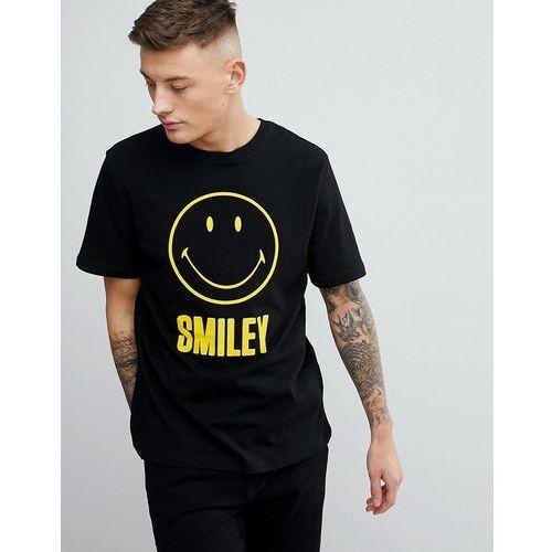 Pull&bear smiley face slogan crew neck t-shirt in black - black