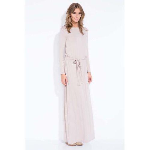Dresowa Mocca Maxi Sukienka z Wiązanym Paskiem