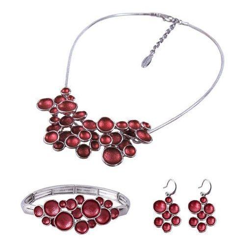 Komplet biżuterii z ciekawą ozdobą: naszyjnik, bransoletka i kolczyki, kolor czerwony