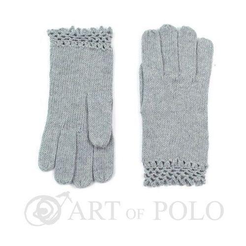 Popielate wełniane rękawiczki damskie z ażurową koronką - popielaty