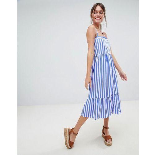 striped cross back midi dress - blue marki Boohoo