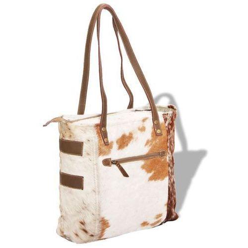 torba na zakupy płócienno-skórzana, skóra kozia marki Vidaxl