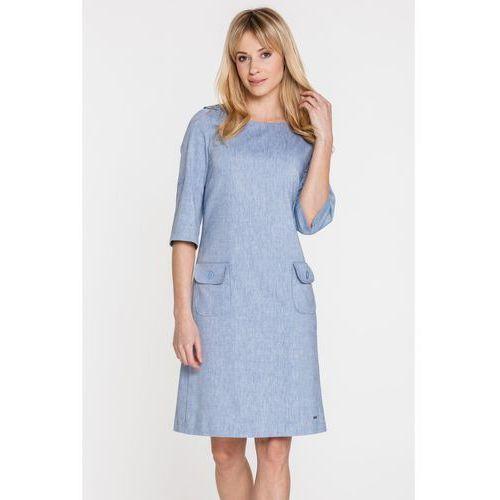 Niebieska sukienka wizytowa z lnem - Sobora, kolor niebieski