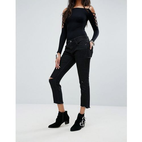 mid rise skinny destroyed ankle jeans - grey marki Free people