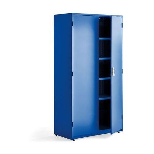 Szafa warsztatowa SUPPLY, elektroniczny zamek szyfrowy, 1900x1020x500 mm, niebieski