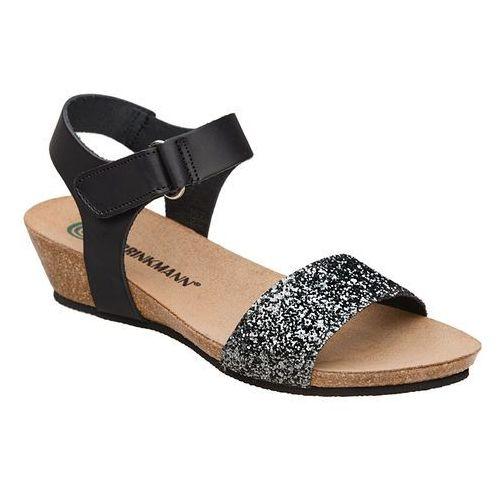 Sandały buty 710783-1 czarne - czarny ||brokat ||multikolor, Dr brinkmann
