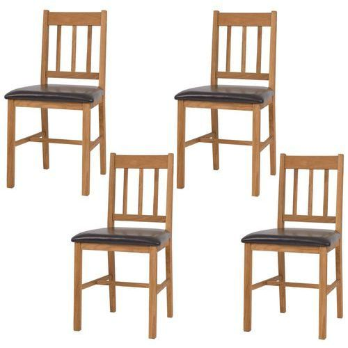 Vidaxl krzesła do jadalni, 4 szt., lite drewno dębowe, 43x48x85 cm
