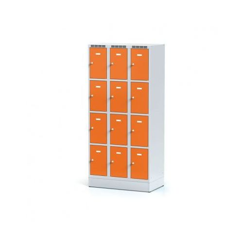 Szafka ubraniowa 12-drzwiowa na cokole, drzwi pomarańczowe, zamek cylindryczny marki Alfa 3