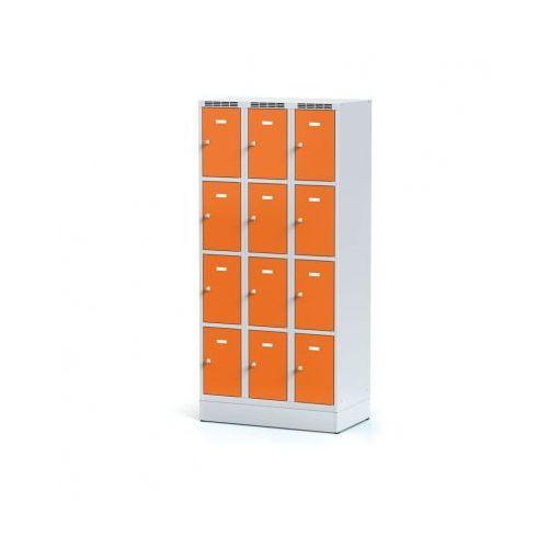 Szafka ubraniowa 12-drzwiowa na cokole, drzwi pomarańczowe, zamek cylindryczny