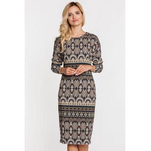 Sukienka w etniczne wzory - Metafora, kolor brązowy