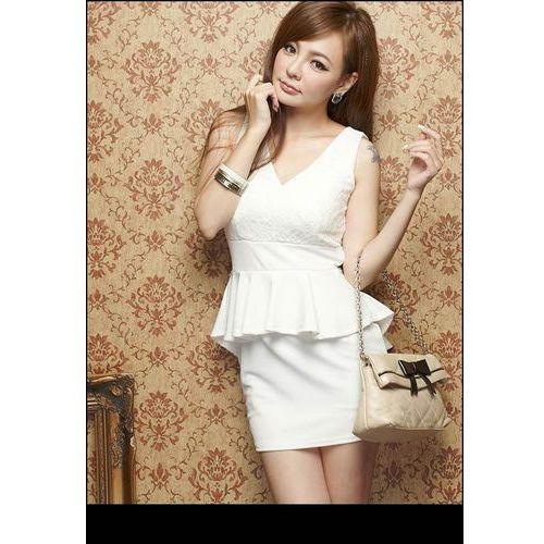 Azjatycki styl Elegancka Biała Sukienka z Baskinką i Koronką, biała