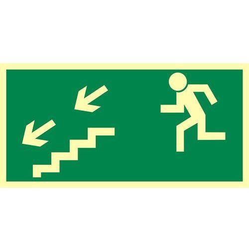 Kierunek do wyjścia drogi ewakuacyjnej schodami w dół w lewo marki Top design