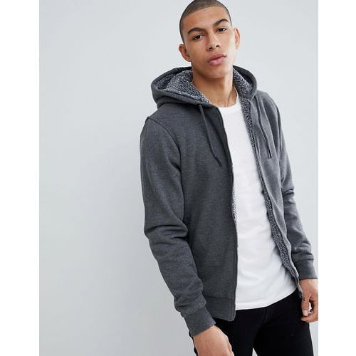 Threadbare Quilted Zip Through Hoodie with Borg Lining - Grey, kolor szary
