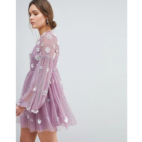 ASOS Floral Cluster Embellished Balloon Sleeve Mini Dress - Purple