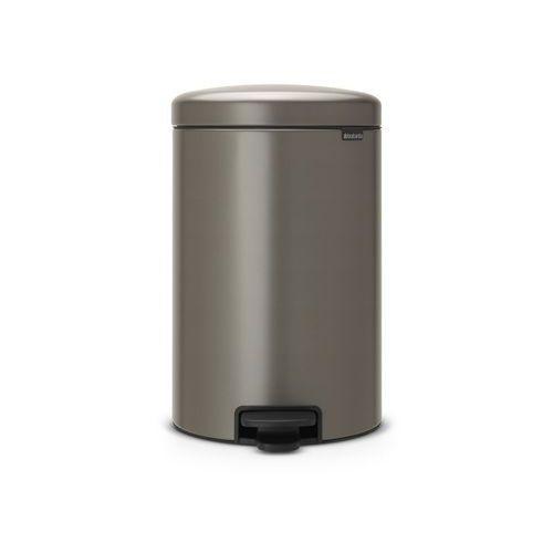 Brabantia - Kosz NewIcon - 20 l - plastikowe wiadro i wolnoopadająca pokrywa - platynowy - platynowy (8710755114045)