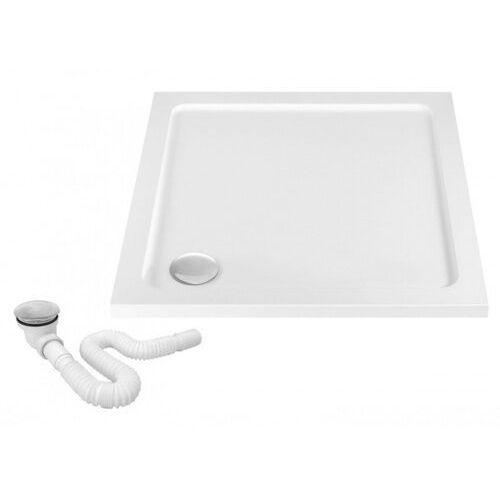 Rea Savoy brodzik kwadratowy 80x80 cm biały + syfon REA-K1906 (5902557329663)