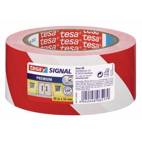 taśma ostrzegawcza biało-czerwona 50mmx66m marki Tesa