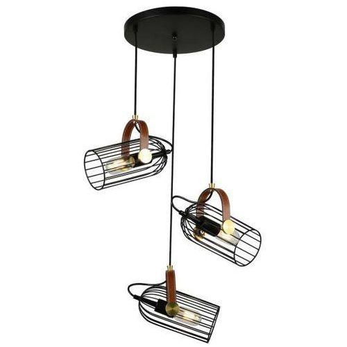 Italux Wisząca lampa industrialna antoin pnd-2445-3-bk druciana oprawa metalowy zwis kaskada klatki czarne brązowe (1000000574081)