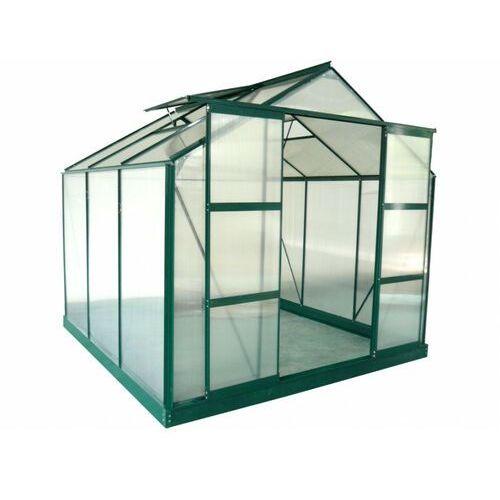 Vente-unique Szklarnia ogrodowa z poliwęglanu o pow. 5,9 m² anissa z podstawą - zielony
