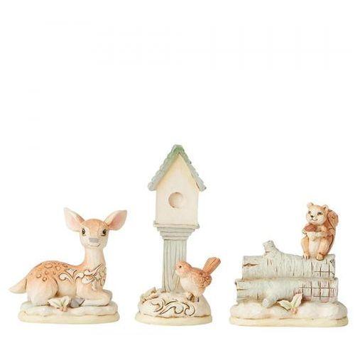 Zwierzęta do szopki sarenka ptaszek wiewiórka white woodland mini accessory set of 3 6004169 figurka ozdoba świąteczna marki Jim shore