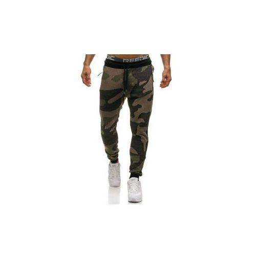 Spodnie męskie dresowe joggery moro-zielone Denley 0917, kolor zielony