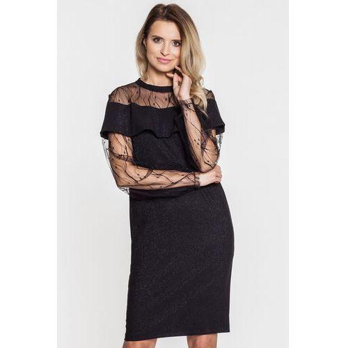 Czarna sukienka z koronkowymi rękawami i dekoltem - Anataka